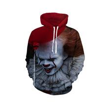跨境批发热销男士3D数码印花小丑欧美男士服装连帽衫卫衣一件代发