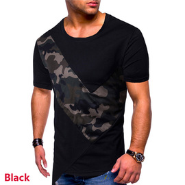 Summer new payee model European code men's personality camouflage splicing hairstylist short-sleeved round-collar T-shirt elastic T49