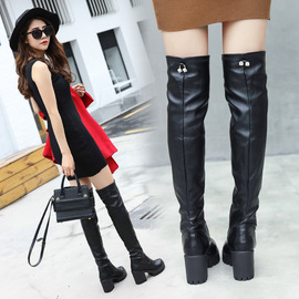 New sexy knee-length boots in autumn and winter, midheel leather boots, thick heels, thin legs, elastic boots, women's shoes