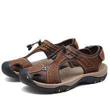 2018年夏季新品潮流时尚凉鞋舒适真皮包头沙滩鞋百搭耐磨男鞋批发