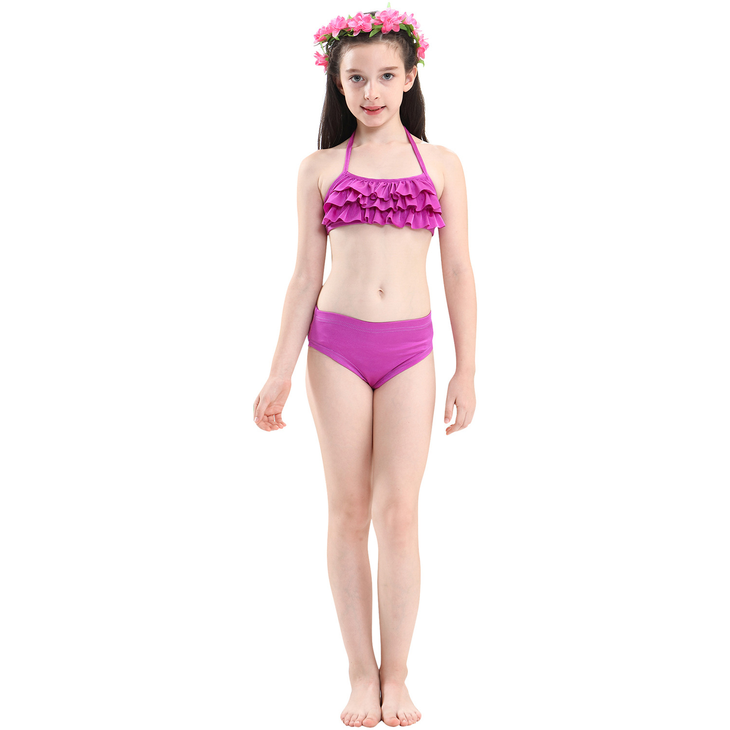 9258246129 898390851 - 4PCS/Set HOT Kids Girls Mermaid Tails with Fin Swimsuit Bikini Bathing Suit Dress for Girls With Flipper Monofin For Swim