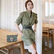 【安娜帆順】新款韓版時尚氣質短袖收腰復古軍裝式外套中袖連衣裙