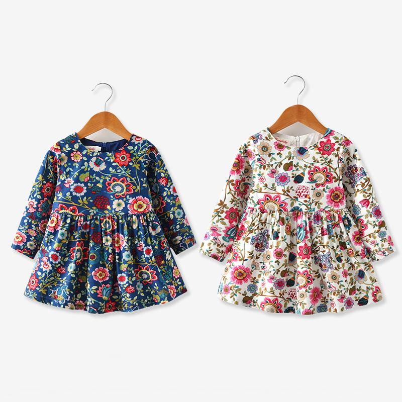 2021新款春秋装女童装儿童连衣裙长袖印花朵裙子文艺小清新童裙子