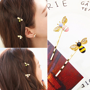 Korean style new fresh and cute little bee hairpin alloy plating women's bangs one word clip factory direct sales