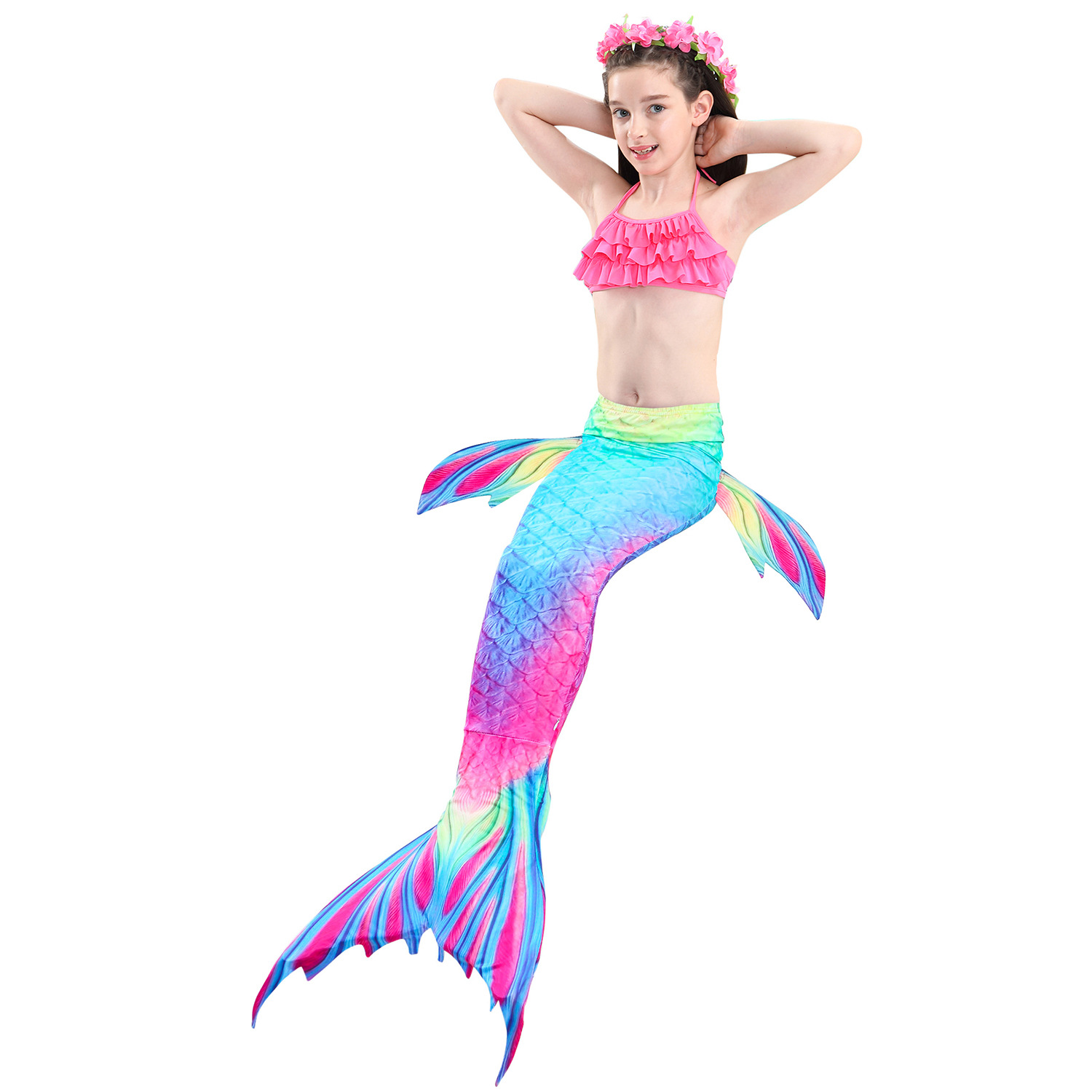9314602329 898390851 - 4PCS/Set HOT Kids Girls Mermaid Tails with Fin Swimsuit Bikini Bathing Suit Dress for Girls With Flipper Monofin For Swim