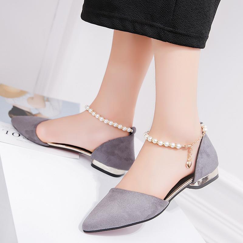 夏季新款女士凉鞋鞋低跟平底包头浅口韩版一字扣带时尚大小码女鞋