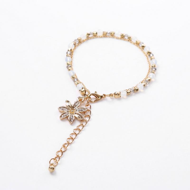 Alloy Fashion Flowers bracelet  Flower pendant + red bead chain NHHN0343Flowerpendantredbeadchain