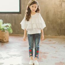 19韓板春季新款兩件套刺繡女童長褲+白色喇叭袖上衣一件代發