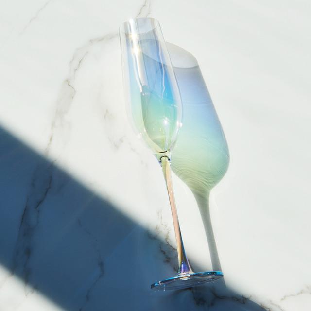 cầu vồng tưởng tượng Nhật Bản đầy màu sắc kính pha lê champagne chiếc cốc màu rượu vang đỏ kính mạ sáng tạo Bộ rượu