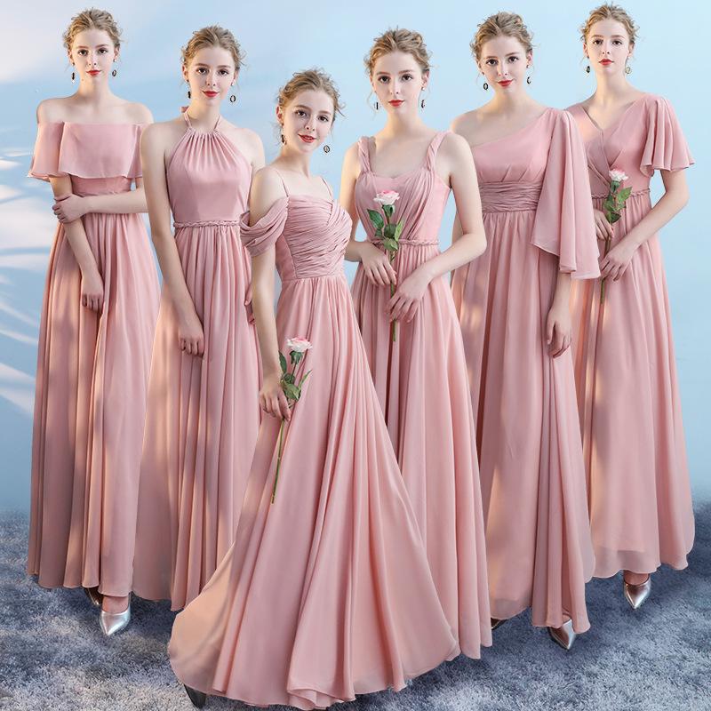 伴娘服年会宴会晚礼服粉色雪纺一字肩伴娘礼服敬酒礼服主持人礼服