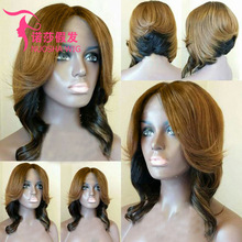 European and American fashion wigs linen gradient black ladies short curly hair nightclub trend wig