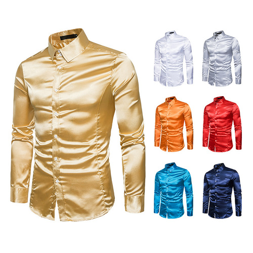 Men's pink silver gold blue host singers stage performance photos shooting shirts high quality shiny long-sleeved lapel collar satin silk shirt