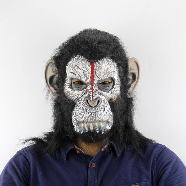 人猿头套猩猩外贸亚马逊猩球崛起万圣节搞笑动物恐怖乳胶面具批发
