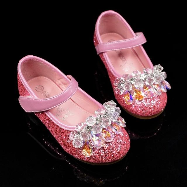 Hot thương mại nước ngoài thương mại Cinderella giày pha lê nhỏ giày cao gót hiệu suất piano giày pha lê giày rhinestone công chúa Giày công chúa