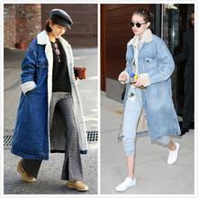 外貿2020冬季羊羔毛牛仔外套中長款加絨加厚棉衣棉服女棉襖潮