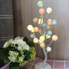 爆款led樹燈50cm棉線球小樹燈 家居裝飾 節日創意室內ins發光樹燈