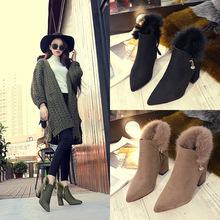 高跟短靴尖頭絨面外貿女鞋歐美18秋冬新款馬丁靴粗跟毛毛時尚百搭