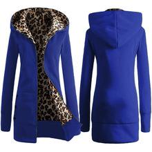 2018ebay速賣通新款加厚豹紋lian衛衣歐美加絨大碼外套秋冬季女裝