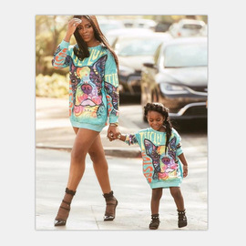 New hot sale explosions autumn and winter Mai Tini European and American digital printing cartoon parent-child sweater