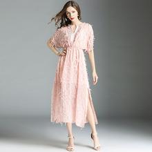 2018胖妹妹大碼 夏綉花V領開衩蝙蝠袖流蘇仙美長裙歐美雪紡連衣裙