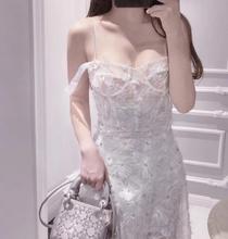 2018夏新款连衣裙显瘦花朵水晶钻重工钉珠吊带裙7月15现货
