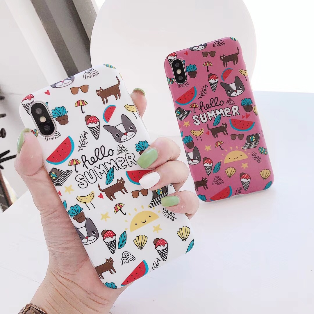 Korea Cartoon Girl Pink Bulldog iPhoneX Mobile Shell Silicone Apple 8/7plus Cover 6s Tide