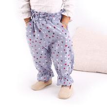 秋季童装女童长裤印花圆点灯笼裤儿童童裤纯棉磨毛家裤子一件代发