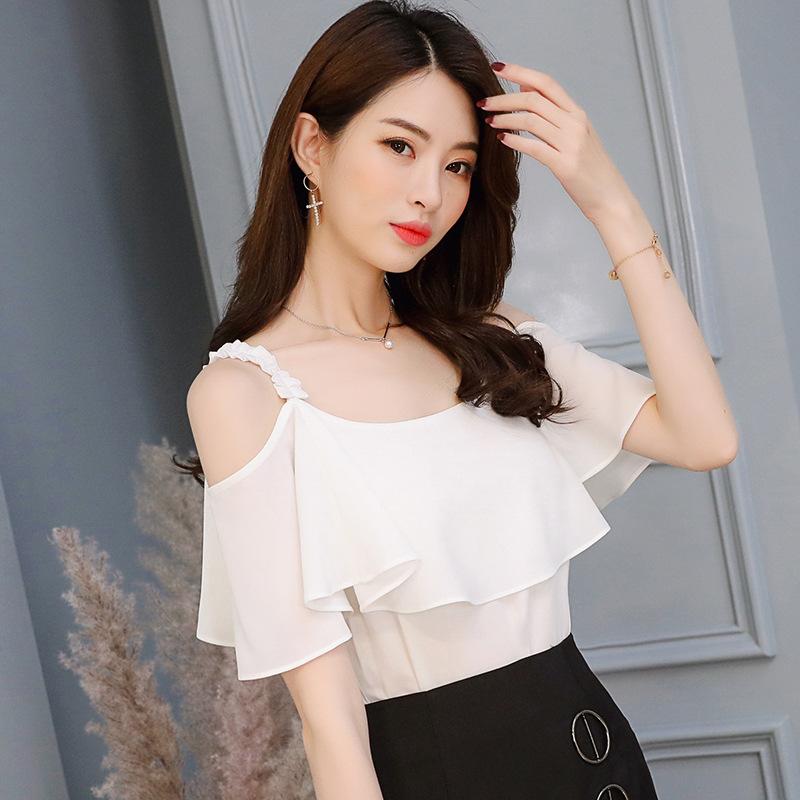 2018夏季新款衬衫女韩版甜美风一字领雪纺衬衫宽松纯色衬衣女批发