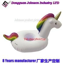 厂家生产直销PVC充气独角兽杯座 水上游泳池独角兽充气杯座