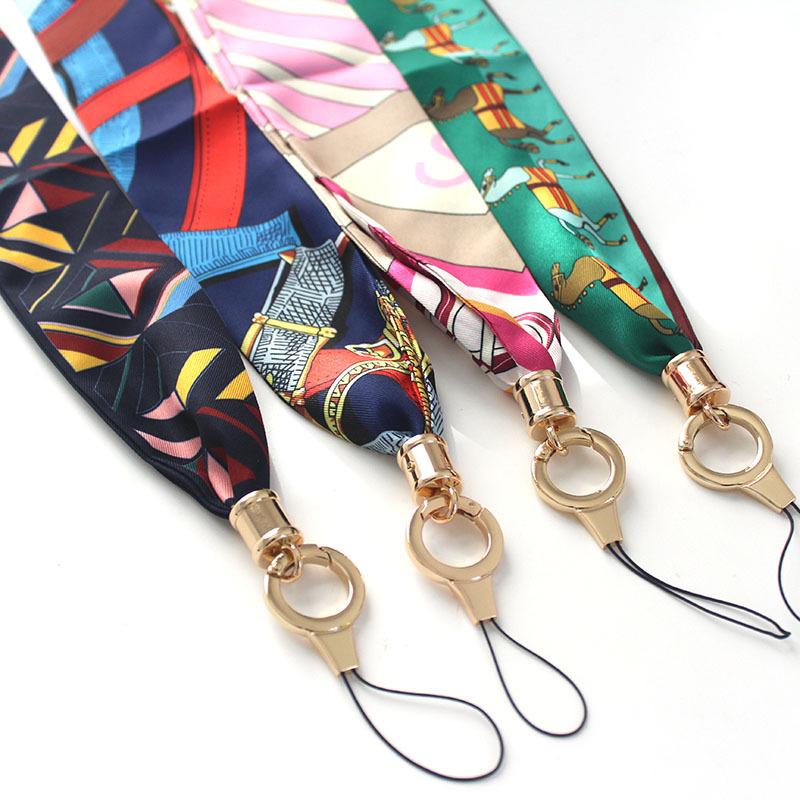 手机挂绳 挂勃丝巾缎带个性女款豹纹丝巾二合一宽吊带挂脖不勒脖