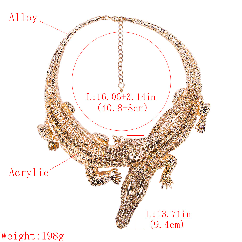 Fashion Alloy Diamond necklace Animal (Golden)NHJE1121-Golden