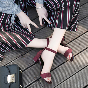 ស្បែកជើងកែង Sandals new thick with black student wild open-toed buckle strap Roman High Heels PZ549187