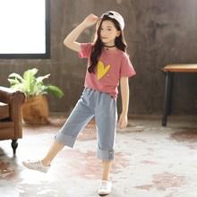 新款童装女童洋气夏装2018中大时髦套装韩版潮衣儿童阔腿裤两件套