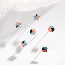 S925纯银卡通滴油耳钉 简约五角星小巧精致学生耳饰 烤漆饰品定制