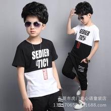 童套装 厂家直销童装中大童短袖拼接七分裤哈伦运动套装 男童T恤