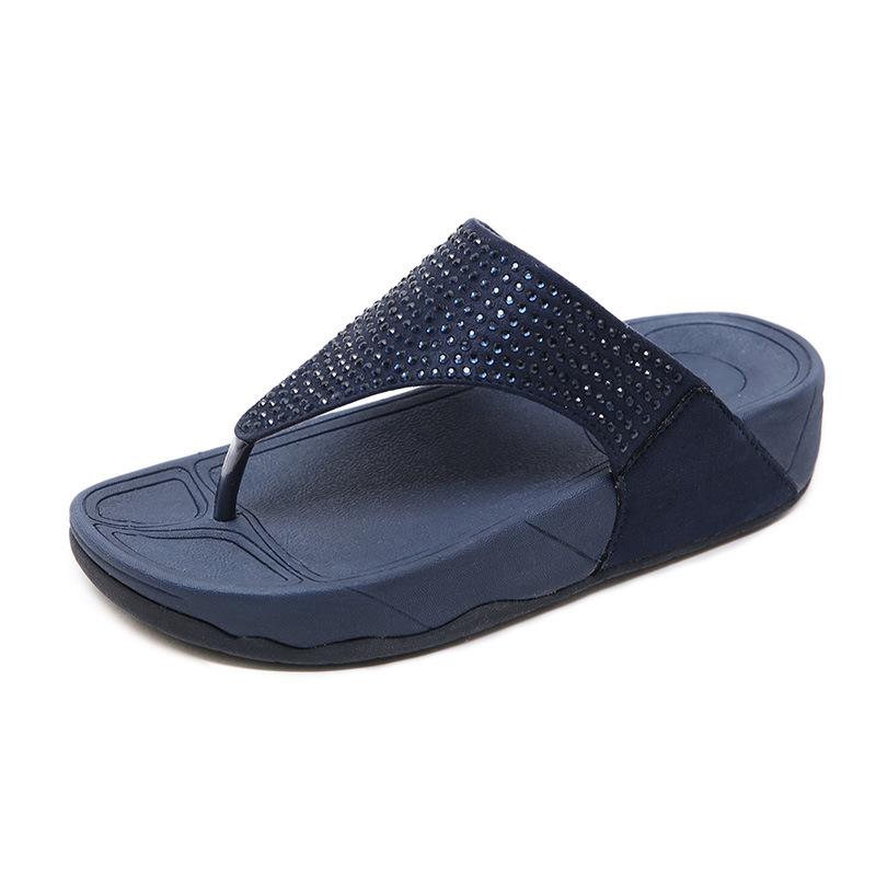 新款2021速卖通休闲 拖鞋女跨境坡跟水钻厚底大码人字拖女鞋批发