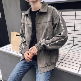 Autumn corduroy men's lapel coat Hong Kong style youth letter printing jacket art long-sleeved men