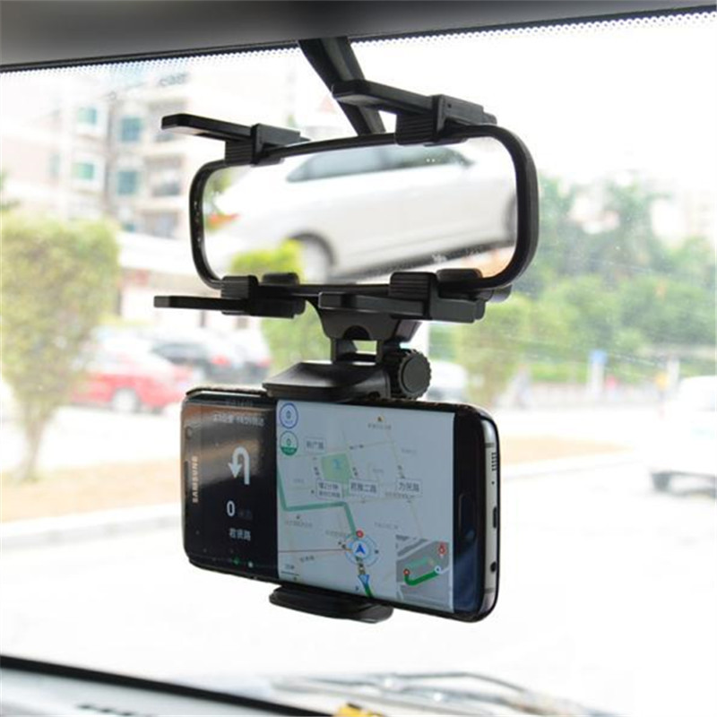 车载后视镜手机支架 汽车倒后镜通用导航支架 行车记录仪固定夹子