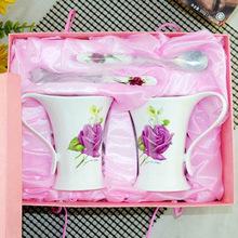 中禮陶瓷 婚慶禮品對杯  陶瓷對杯套裝  套裝情侶水杯 不銹鋼勺