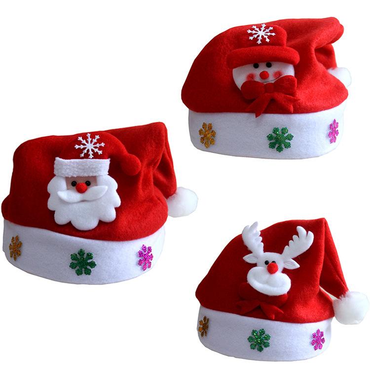 圣诞节小孩帽礼物圣诞帽子儿童高档金丝绒圣诞成人卡通帽装饰品