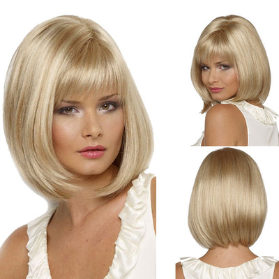 Bob Hair Wigs Perruques Bob Hair Pelucas De Cabello Bob Bobo wig female short straight hair light gold African wig headgear