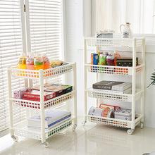 厂家直销可移动厨房置物架 分层置地式收纳储物架 塑料收纳架批发