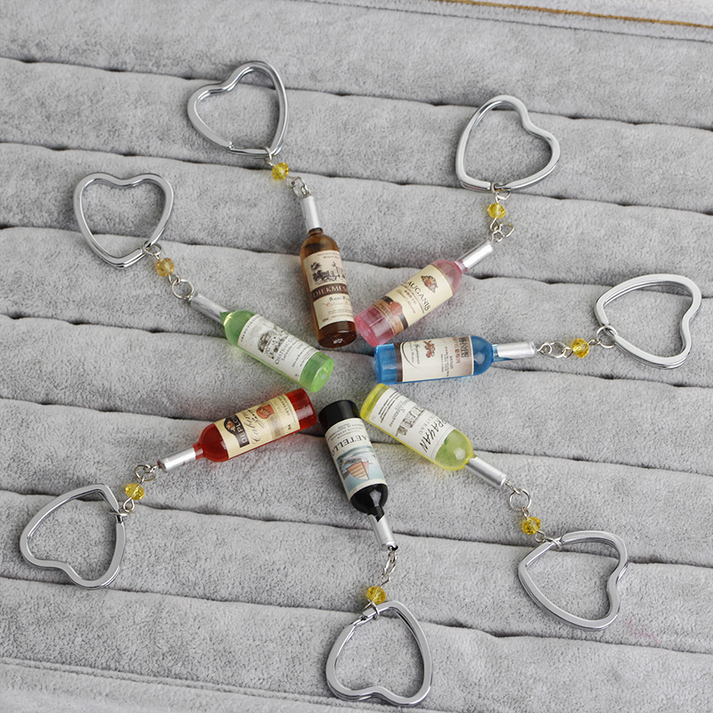 explosion key chain fashion red wine bottle key chain pendant pendant female small gift key chain wholesale nihaojewelry NHMO220434