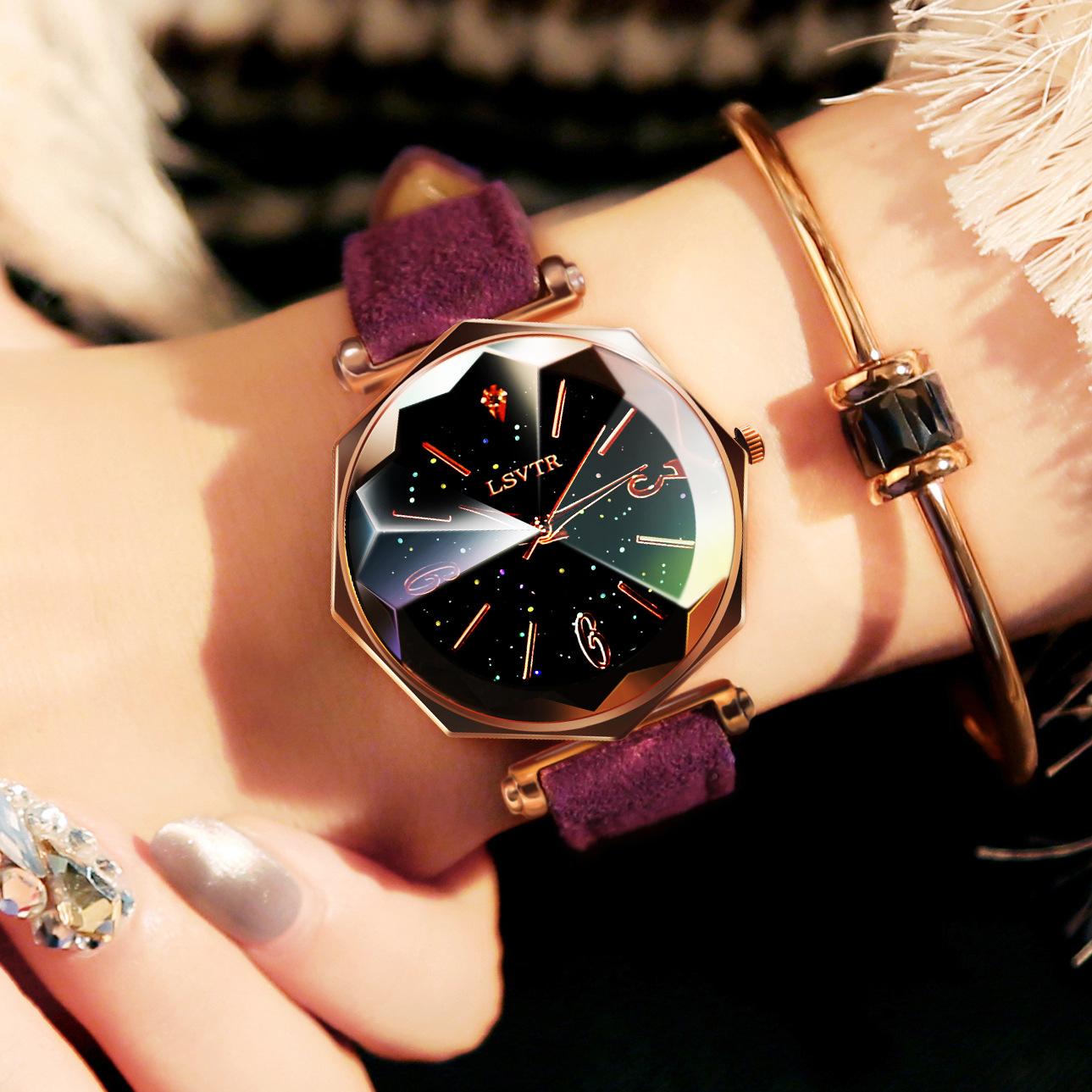 LSVTR厂家批发爆款女表时尚水钻休闲创意手表网红皮带石英表礼品