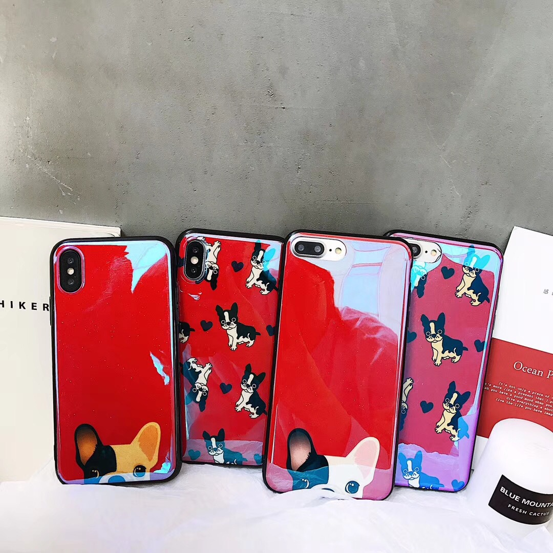Net red with the Blu-ray phone8/X mobile phone shell tide brand Apple 6s/7plus cartoon cute law dog