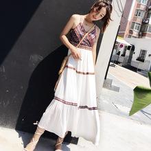 2018夏季新款泰国民族风吊带连衣裙收腰雪纺海边度假显瘦沙滩长裙
