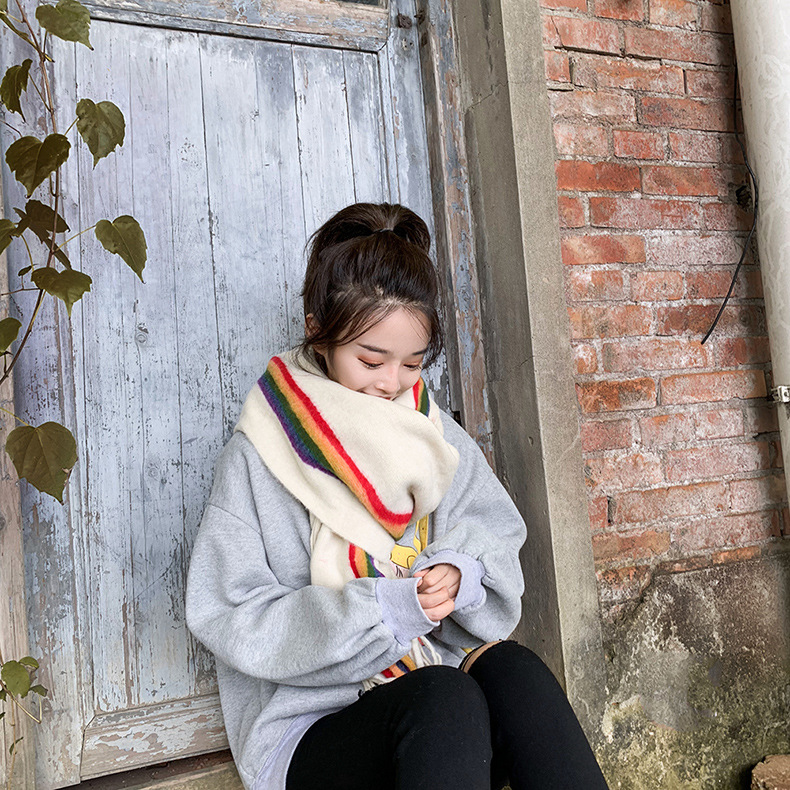 Scarf female winter rainbow striped knitting wild autumn and winter new female thick dual-use scarf NHTZ182110