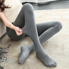 春秋季加絨薄款打底褲女外穿棉褲大碼新款踩腳連襪薄絨內穿一體褲
