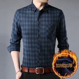 Winter long-sleeved velvet thickened dad's shirt middle-aged men's warm plaid father's casual shirt