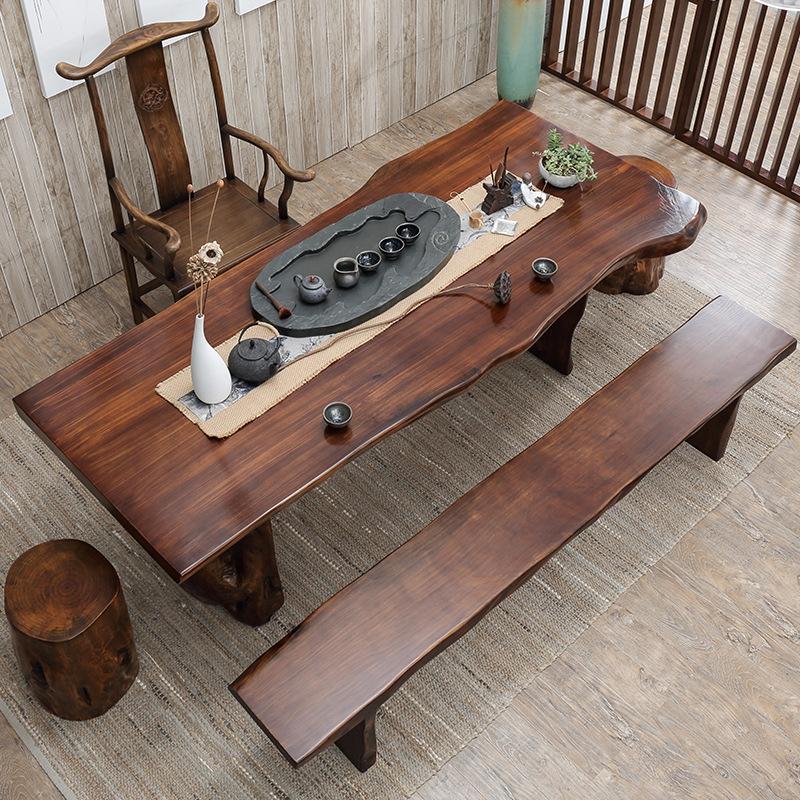 新中式实木茶桌原木大板功夫茶台家用茶室办公室会客泡茶桌椅组合